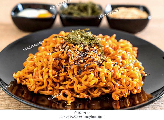 korean spicy instant noodles on the table