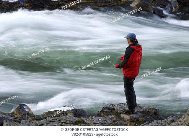 Flyfishing, Steelhead Falls Wilderness Study Area, Deschutes Wild and Scenic River, Prineville District Bureau of Land Management, Oregon