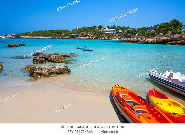 Ibiza Portinatx Arenal Petit beach in Balearic Islands of Spain