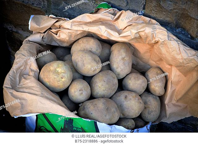 Closeup of a sack of potatoes in front of a grocery store. Howes, Yorkshire Dales, England, UK, Europe