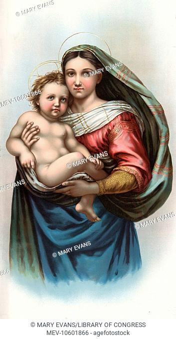 Raphael's Madonna. Art reproduction of Raphael's Madonna, offered as a premium by BT Babbitt, soap and baking powder company of New York. Date 1898
