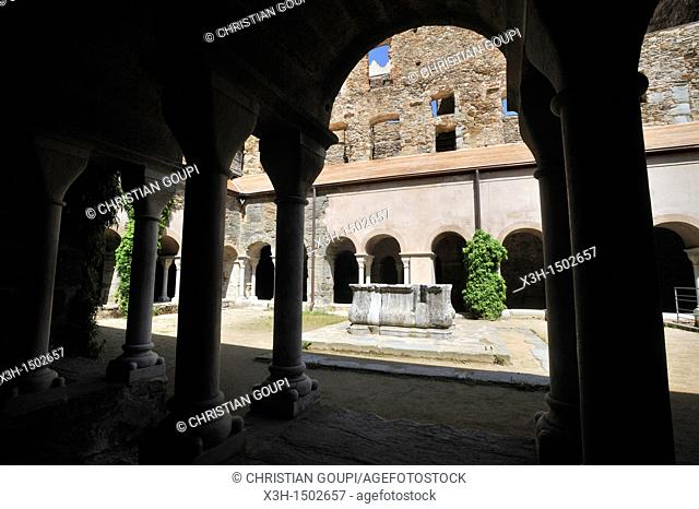 cloister of Monastery of Sant Pere de Rodes Costa Brava, Catalonia, Spain, Europe