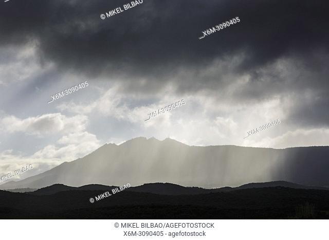 Loquiz mountain range and clouds. Tierra Estella, Navarre, Spain, Europe