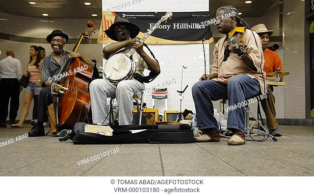 Times Square, subway metro, 42nd Street, New York City, Ebony Hillbillies often perform on subway stations