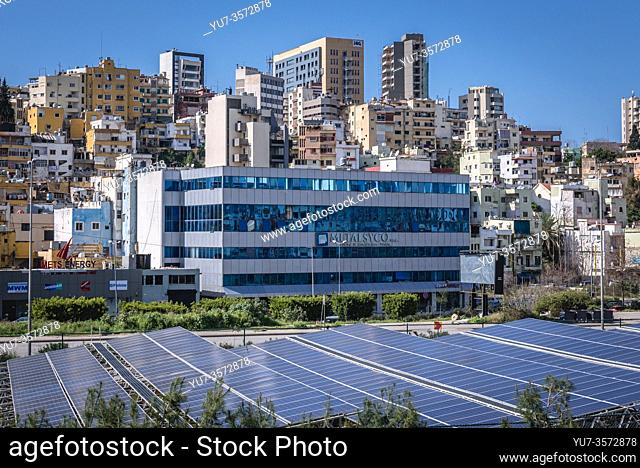 Beirut cityscape and solar panels over Beirut River, view from Sin el Fil suburb, Lebanon