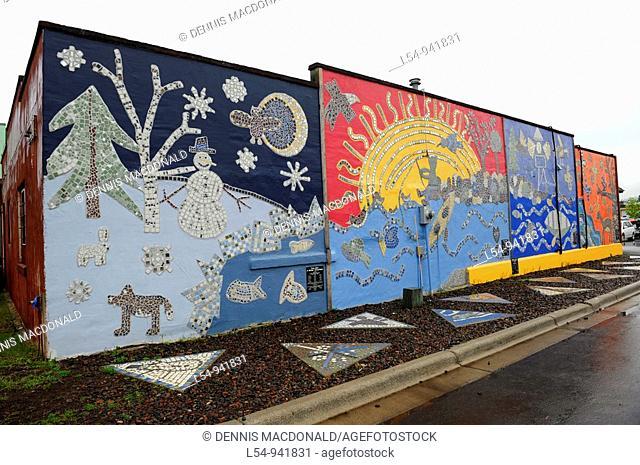 Four Seasons Mural on Building in Grand Marais Minnesota along Lake Superior