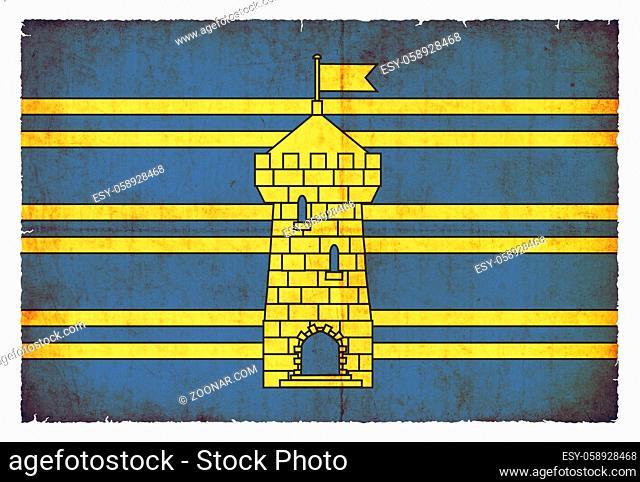 Flag of the Terretoire-de-Belfort Departement Manche created in grunge style