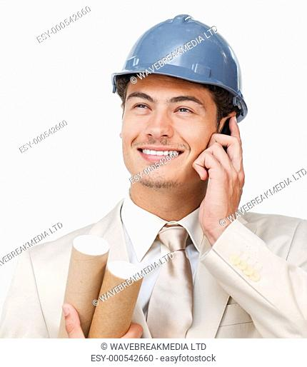 Assertive young architect on phone against a white background