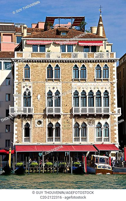 Hotel Bauer Palazzo facade, along, Grand Canal, Venice, Italy