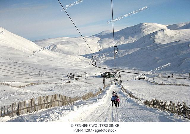 Skiers being towed at Glenshee, Cairngorm National Park, Scotland