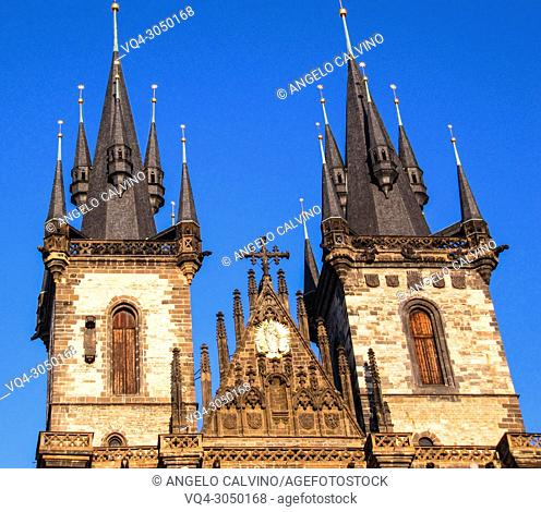 Church of Our Lady, Tyn Church in Old Town Square in Prague, Czech Republic