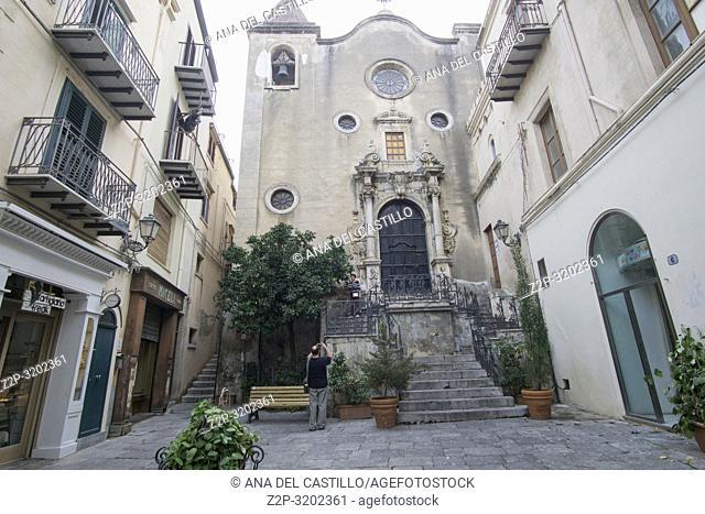Sto Stefano church Cefalu townscape Sicily village on the sea Italy