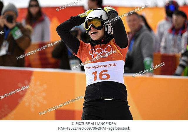 Germany's Selina Joerg wins silver at the women's parallel giant slalom in Bokwang Phoenix Snow Park in Pyeongchang, South Korea, 24 February 2018