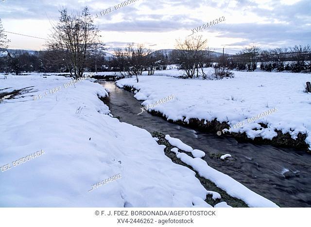 Burguete riverside area in Winter. Navarre, Spain