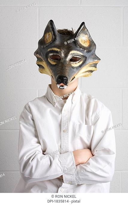 Child with a mask on
