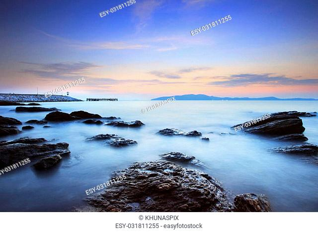 beautiful sun rise sky at sea coast photography by long explosure method use as natural background,backdrop