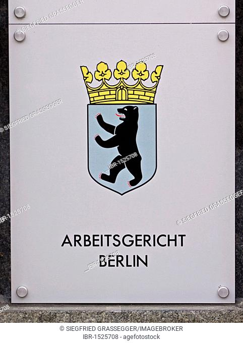 Sign, Arbeitsgericht, German for labour court, of Berlin-Brandenburg, coat of arms of Berlin and of Brandenburg, Berlin, Germany, Europe