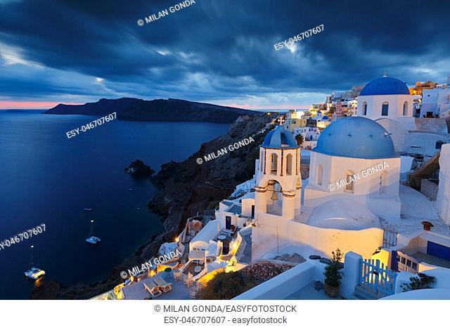 View of Oia village on Santorini island in Greece.