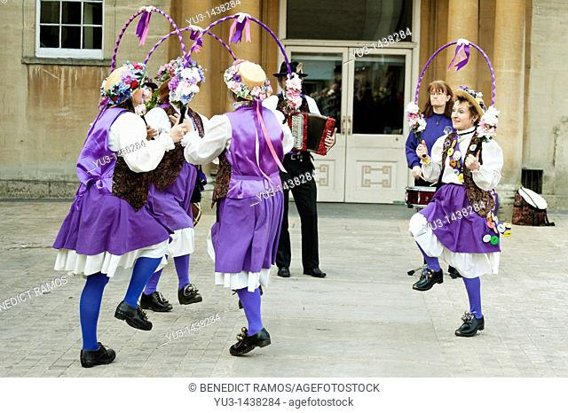 Morris dancers performing at the Oxford Folk Festival, Oxford, UK