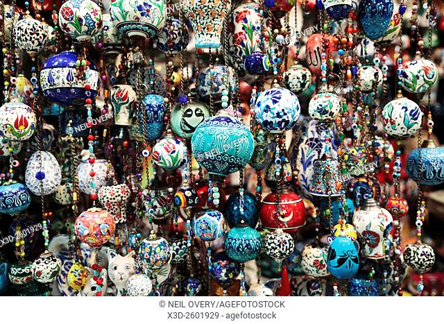 Colorful Hanging Turkish Ceramic Sourvenirs in Istanbul, Turkey