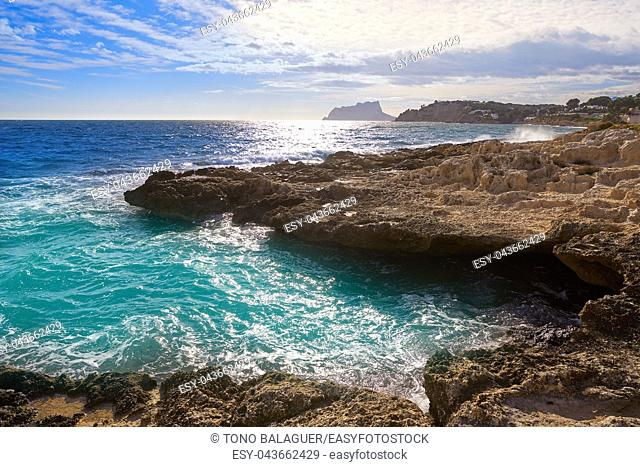 Moraira coast with Ifach of Calpe in Alicante of spain