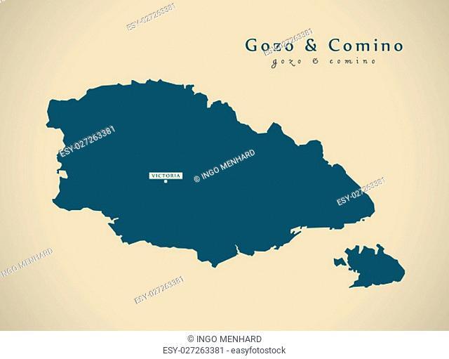 Modern Map - Gozo and Comino Malta MT illustration