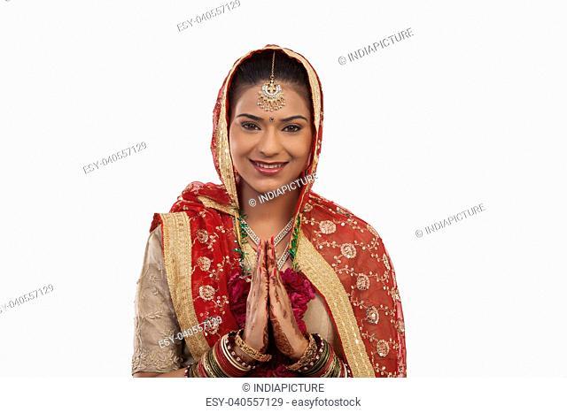 Portrait of a Gujarati bride greeting