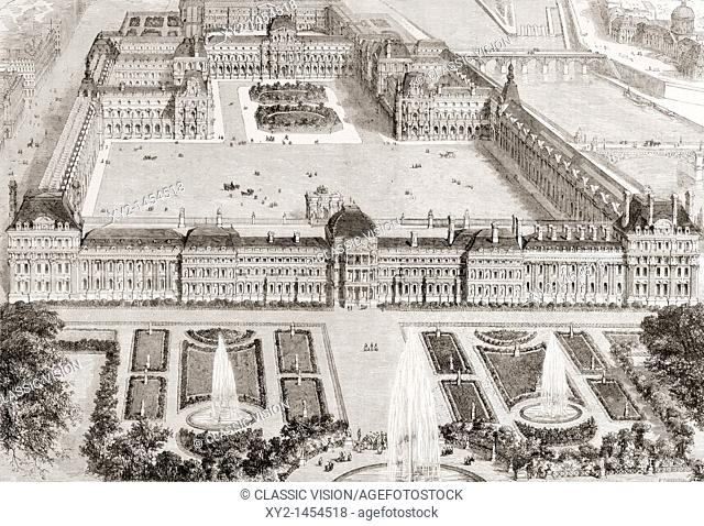 View of the new gardens of the Tuileries Palace and the new and the old Louvre, Paris, France, in the 19th century  From L'Univers Illustre