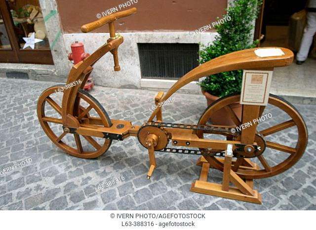 Wooden bicicle. Original designed by Leonardo Da Vinci. Rome. Italy