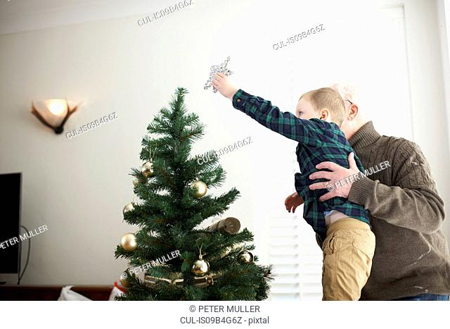 Senior man lifting grandson to place star on christmas tree