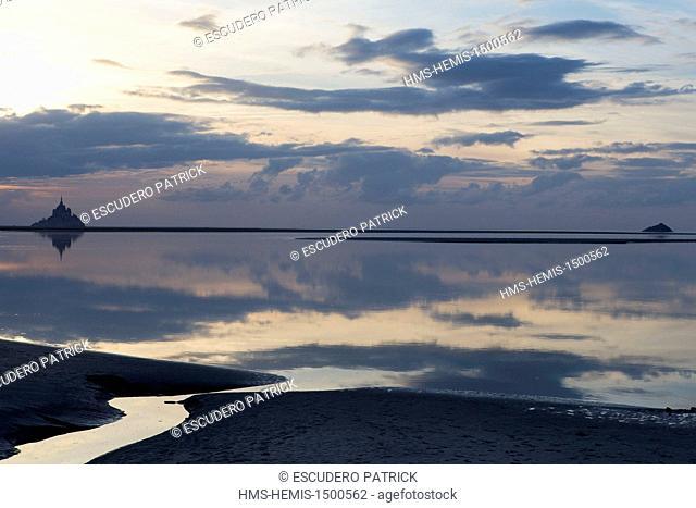 France, Manche, Mont Saint Michel bay, listed as World Heritage by UNESCO, Mont Saint Michel