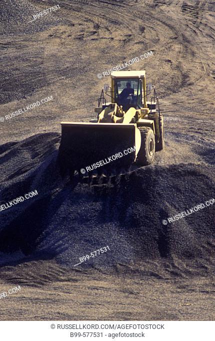Construction: Bulldozer In Rock Quarry