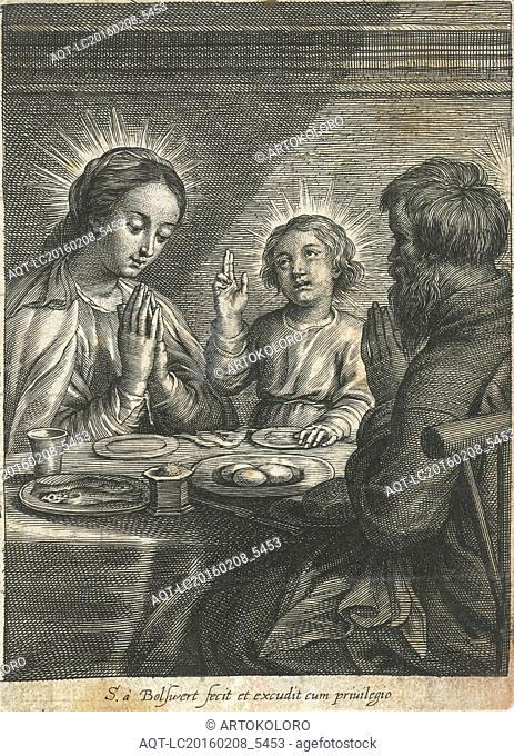 Holy Family praying before meals, Schelte Adamsz. Bolswert, Peter Paul Rubens, 1596 - 1659