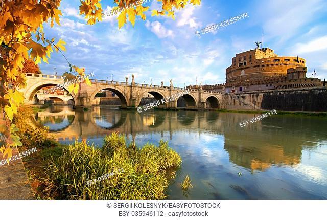 Italian bridge of Saint Angelo on the river Tiber, Rome