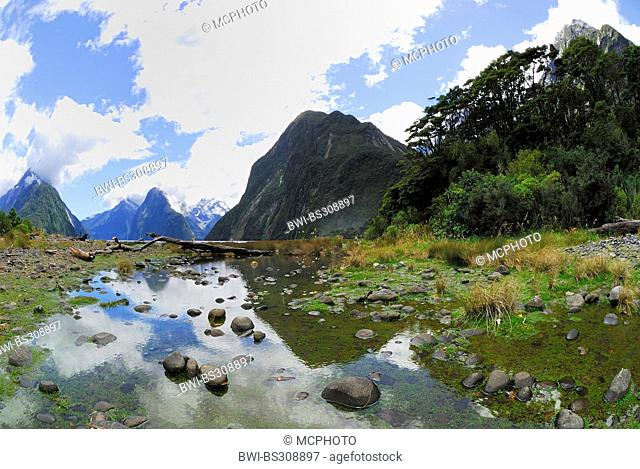 panoramic view through the Milford Sound (Piopiotahi), New Zealand, Southern Island, Fjordland National Park
