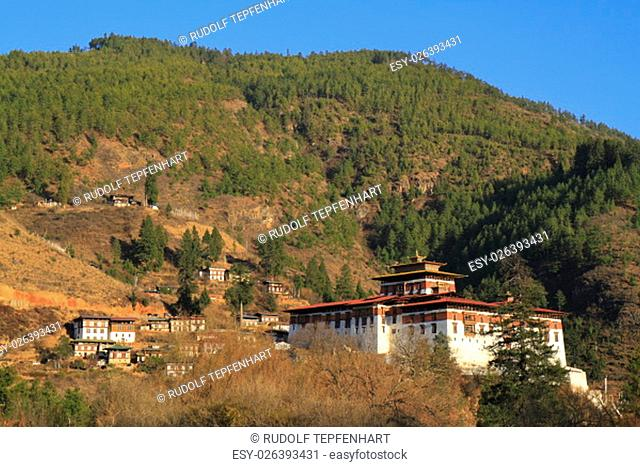 Paro Rinpung Dzong, Buddhist monastery and fortress, on a hill above a river Paro Chu near to the city Paro