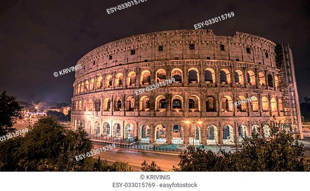 Rome, Italy: famous representatives Colosseum, Flavian Amphitheatre, at night of winter