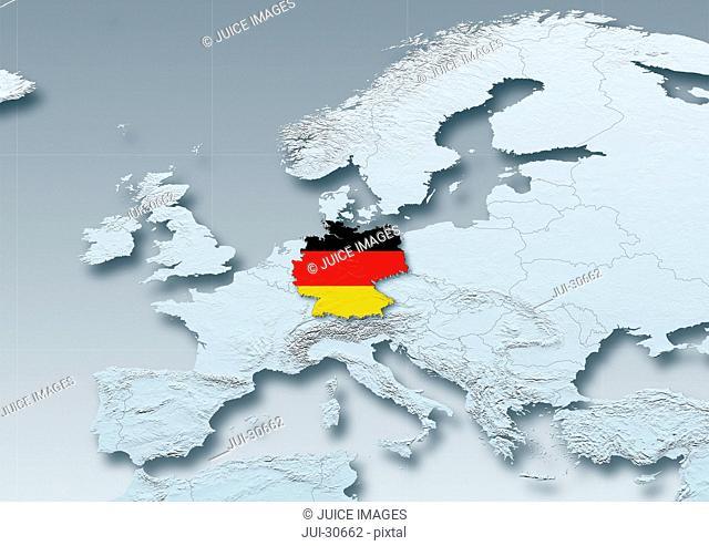 Germany, flag, map, Western Europe, grey, physical, grey, political
