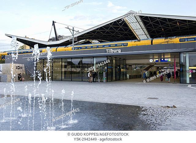 Tilburg, Netherlands. The Northern entrance with aquare of Tilburg's main Railway Station