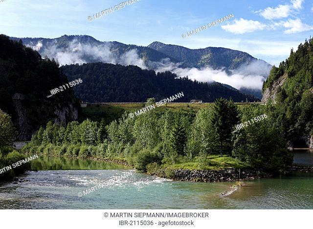 Isar River and Sylvenstein Dam, municipality of Lenggries, Isarwinkel region, Upper Bavaria, Bavaria, Germany, Europe