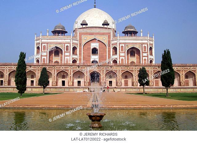 Humayun's Tomb was built by his widow in 1562. It is a UNESCO World Heritage Site in red sandstone with white inset or inlaid reliefs and a dome and an example...