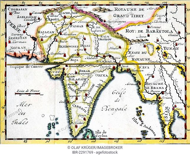 Historical, hand-coloured map, engraving, India and Southeast Asia, 18th Century