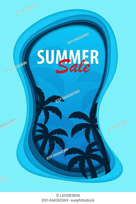 Summer Time banner with palms. Paper cut and craft style. Vector illustration