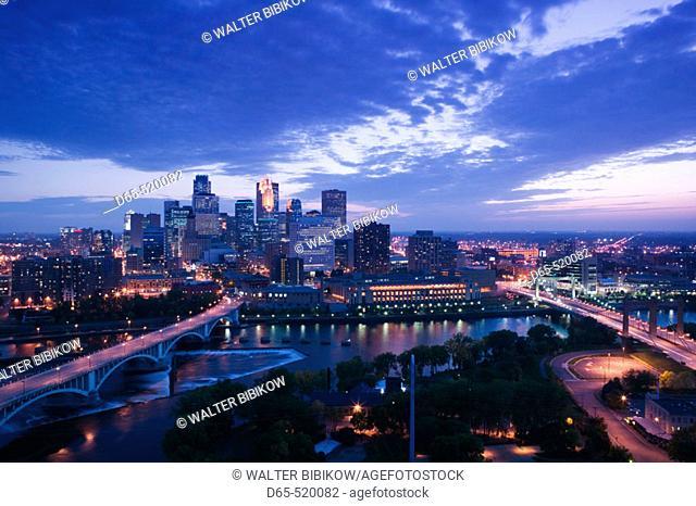 Evening city skyline scene from St. Anthony Main. Minneapolis. Minnesota. USA