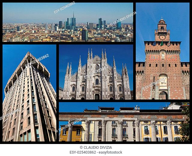 Landmarks collage of the city of Milan, Italy