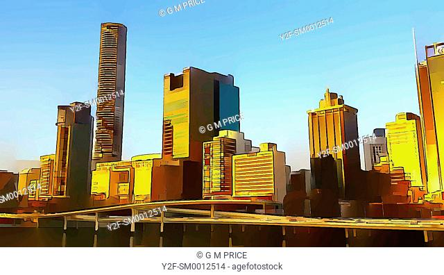 cartoon filter view of Brisbane city skyline and motorway by the Brisbane River