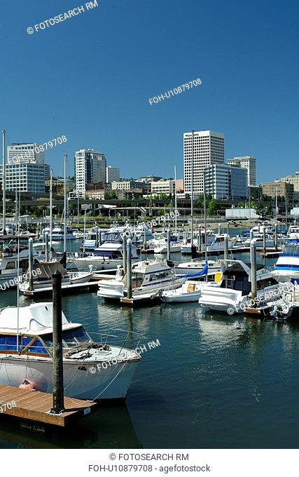 Tacoma, WA, Washington, Puget Sound, Thea Foss Waterway, downtown, skyline, marina
