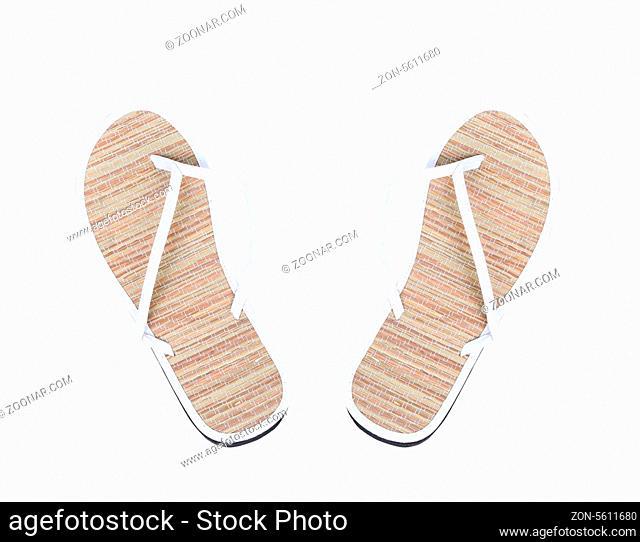 Pair of striped flip-flop sandals. White background