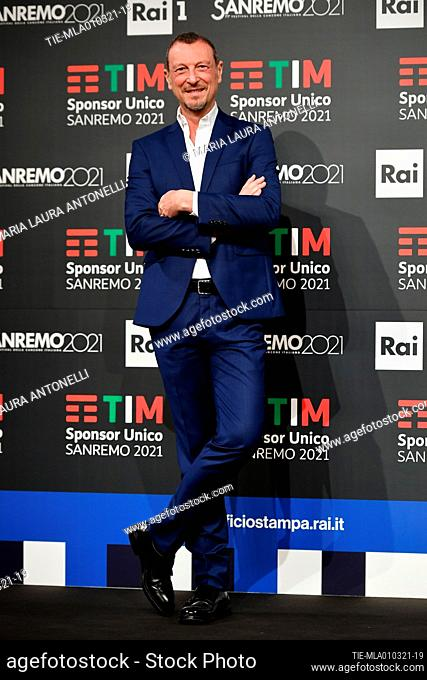Sanremo Festival host and artistic director, Amadeus, poses for photographers during the photocall of 71st Sanremo Music Festival, Sanremo, ITALY-01-03-2021