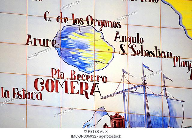 Spain, canary islands, Gomera, map